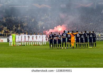 Kyiv, Ukraine - February 22, 2019: Dynamo Kyiv players before the start of UEFA Europa League match against Olympiakos FC at NSC Olympic stadium.