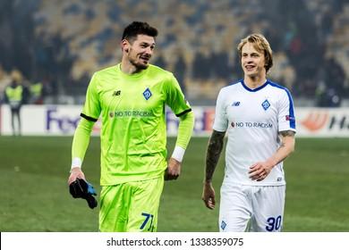 Kyiv, Ukraine - February 22, 2019: Denis Boiko and Artem Shabanov of Dynamo Kyiv at UEFA Europa League match against Olympiakos FC at NSC Olympic stadium.