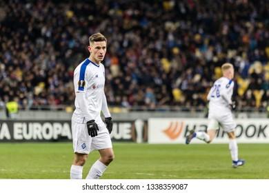 Kyiv, Ukraine - February 22, 2019: Benjamin Verbic of Dynamo Kyiv in action UEFA Europa League match against Olympiakos FC at NSC Olympic stadium.