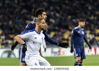 Kyiv, Ukraine - February 22, 2019: Fran Sol of Dynamo Kyiv in action at UEFA Europa League match against Olympiakos FC at NSC Olympic stadium.