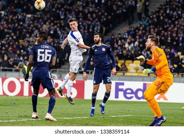 Kyiv, Ukraine - February 22, 2019: Benjamin Verbic of Dynamo Kyiv in action UEFA Europa League match against Olympiakos FC at NSC Olympic stadium.