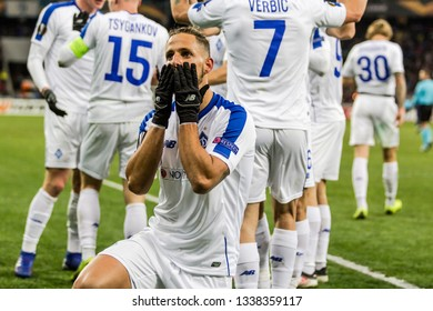 Kyiv, Ukraine - February 22, 2019: Fran Sol of Dynamo Kyiv celebrates scoring a goal at UEFA Europa League match against Olympiakos FC at NSC Olympic stadium.