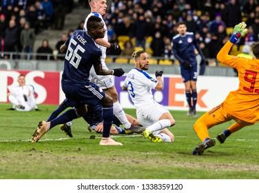 Kyiv, Ukraine - February 22, 2019: Fran Sol of Dynamo Kyiv in action at UEFA Europa League match against Olympiakos FC at NSC Olympic stadium.