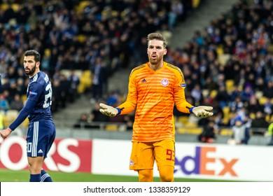 Kyiv, Ukraine - February 22, 2019: Jose Sa of Olympiakos FC in action at UEFA Europa League match against Dynamo Kyiv at NSC Olympic stadium.