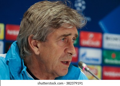 KYIV, UKRAINE - FEBRUARY 23, 2016: FC Manchester City manager Manuel Pellegrini attends press-conference before UEFA Champions League game against FC Dynamo Kyiv at NSC Olimpiyskyi stadium
