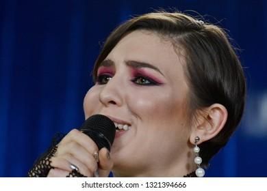 KYIV, UKRAINE - FEBRUARY 23, 2019: Ukrainian singer MARUV will represent Ukraine at the Eurovision Song Contest (ESC) taking place at the Expo Tel Aviv in Tel Aviv, Israel
