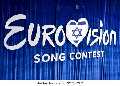 KYIV, UKRAINE - FEBRUARY 23, 2019: Logo Eurovision Israel during national selection during the Eurovision-2019 from Ukraine