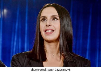 KYIV, UKRAINE - FEBRUARY 23, 2019: Member of the jury, People's Artist of Ukraine Susanna Jamaladinova (Jamala)during  the national selection Eurovision-2019 from Ukraine