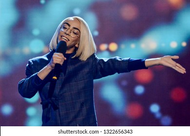 KYIV, UKRAINE - FEBRUARY 23, 2019: French singer Bilal Hassani during  the national selection Eurovision-2019 from Ukraine