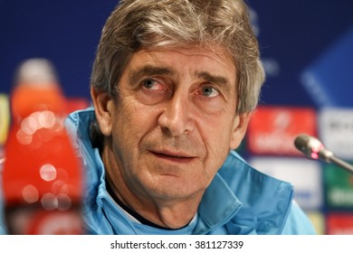KYIV, UKRAINE - FEBRUARY 23: Manager Manuel Pellegrini of Manchester City attends a press conference ahead of the UEFA Champions League round of 16 first leg against Dynamo Kyiv on February 23, 2016
