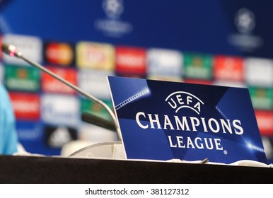 KYIV, UKRAINE - FEBRUARY 23:  UEFA Champions League sign on a table before press conference ahead of the UEFA Champions League round  against Dynamo  on February 23, 2016