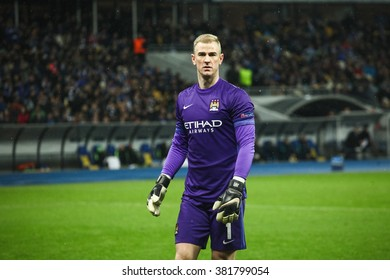 KYIV, UKRAINE - FEBRUARY 24, 2016: Joe Hart of Manchester City FC during their UEFA Championes League game with Dynamo Kyiv at NSC Olimpiyskiy stadium.