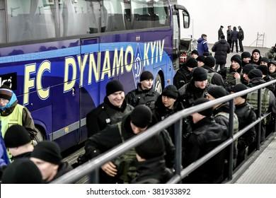 KYIV, UKRAINE - FEBRUARY 24, 2016: UEFA Championes League game with Dynamo Kyiv and  Manchester City FC at NSC Olimpiyskiy stadium. Round of 16 - 1st leg.