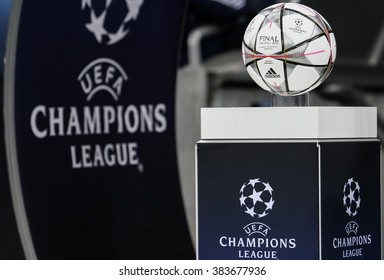 """KYIV, UKRAINE - FEBRUARY 24, 2016: """"Adidas Final Milano"""" - official UEFA Champions League 2016 ball is showing during game FC Dynamo Kyiv vs Manchester City at NSC Olimpiysky stadium"""