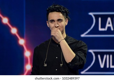 KYIV, UKRAINE – FEBRUARY 24, 2018: MELOVIN winner Final of Eurovision 2018 national selection from Ukraine. Participant from Ukraine at Eurovision Song Contest 2018 in Lisbon