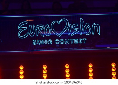 KYIV, UKRAINE - FEBRUARY 24, 2018: Scene with Logo Eurovision during national selection during the Eurovision-2018 from Ukraine