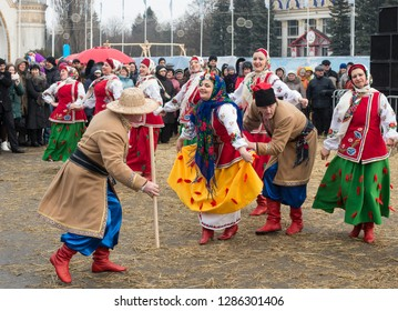 Kyiv, Ukraine - February 26, 2017: the celebration of the Maslenitsa (Shrovetide) in the city. 