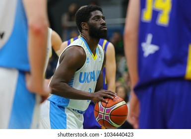 KYIV, UKRAINE - FEBRUARY 26, 2018: Eugene JETER of Ukraine in action during FIBA World Cup 2019 European Qualifiers game against Sweden at Palace of Sports in Kyiv. Ukraine won 77-66