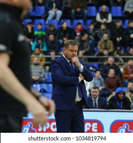 KYIV, UKRAINE - FEBRUARY 26, 2018: Ievgen Murzin, Head coach of National Team of Ukraine, in action during FIBA World Cup 2019 European Qualifiers game Ukraine v Sweden at Palace of Sports in Kyiv