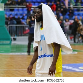 KYIV, UKRAINE - FEBRUARY 26, 2018: Eugene JETER of Ukraine reacts after FIBA World Cup 2019 European Qualifiers game against Sweden at Palace of Sports in Kyiv. Ukraine won 77-66