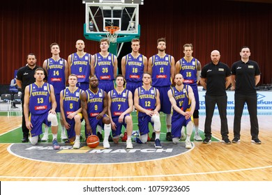 KYIV, UKRAINE - FEBRUARY 26, 2018: Sweden national basketball team group photo before the match. FIBA World Cup 2019 European Qualifiers game. Palace of Sports, Kiev