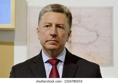 KYIV, UKRAINE - FEBRUARY 26, 2019: Special Representative of the US Department of State Kurt Volker during the forum devoted to the 5th anniversary of the military occupation of the Crimea by Russia