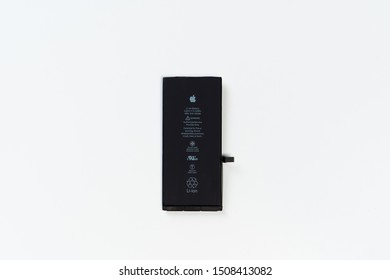 KYIV, UKRAINE - FEBRUARY 27 2019: Blank Li-ion Lithium Smartphone Electronic Battery. Power Supply System Mobile Phone Element Isolated on White Background. Rechargeable Energy Component Technology