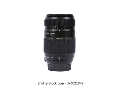 KYIV, UKRAINE - FEBRUARY 28, 2016: Tamron 70-300mm f/4-5.6 AF Di LD Macro lens for  DSLR Nikon Cameras.  Illustrative editorial for product isolated on white background.