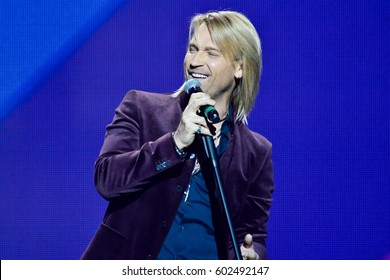 "KYIV, UKRAINE - FEBRUARY 28, 2017: Singer Oleg Vinnik during the Great Spring Concert at the Palace ""Ukraine"""