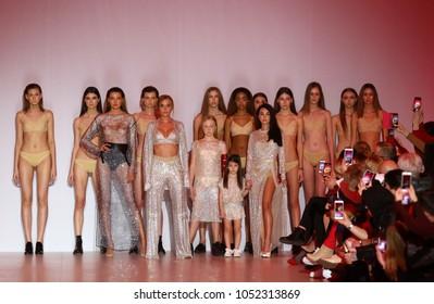 KYIV, UKRAINE - FEBRUARY 3, 2018: Models present a creation by designer GASANOVA during 42nd Ukrainian Fashion Week season Fall/Winter 2018/19 at Mystetskyi Arsenal in Kyiv, Ukraine