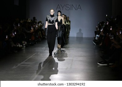 KYIV, UKRAINE - FEBRUARY 3, 2019: Details of a creation by designer Julia AYSINA during 44th Ukrainian Fashion Week season Fall/Winter 2019/20 at Mystetskyi Arsenal in Kyiv, Ukraine