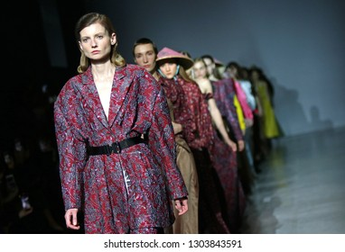 KYIV, UKRAINE - FEBRUARY 3, 2019: Models present a fashion creation of A/RAISE brand during the 44th Ukrainian Fashion Week season Fall/Winter 2019/20 at Mystetskyi Arsenal in Kyiv, Ukraine