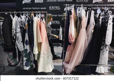 Kyiv, Ukraine - February 4, 2017: Dresses on rack. Backstage of Ukrainian Fashion Week 2017.
