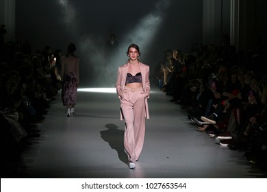 KYIV, UKRAINE - FEBRUARY 4, 2018: Model walks the runway at ANNAMUZA collection show during Ukrainian Fashion Week WF18-19 at Mystetsky Arsenal in Kyiv