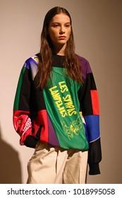 KYIV, UKRAINE - FEBRUARY 5, 2018: Model presents a creation by designer Ksenia Schnaider during 42nd Ukrainian Fashion Week season Fall/Winter 2018/19 at Mystetskyi Arsenal in Kyiv, Ukraine