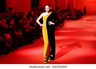 KYIV, UKRAINE - FEBRUARY 5, 2018: Model walks the runway at Iva Nerolli collection show during Ukrainian Fashion Week WF18-19 at Mystetsky Arsenal in Kyiv