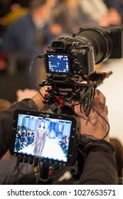 KYIV, UKRAINE - FEBRUARY 5, 2018: Televison camera broadcasting a show during Ukrainian Fashion Week FW18-19 at Mystetsky Arsenal in Kyiv