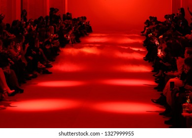 KYIV, UKRAINE - FEBRUARY 5, 2018: People waiting for the fashion presentation of fall/winter 2018/19 collection by Iva Nerolli as part of Ukrainian Fashion Week at Mystetskyi Arsenal in Kyiv