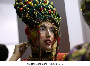 KYIV, UKRAINE - FEBRUARY 5, 2019: Models are waiting at the backstage to present a creation by designer YANIS STEPANENKO during the Ukrainian Fashion Week season FW19-20 at Mystetskyi Arsenal in Kyiv