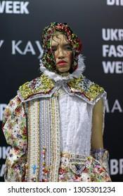 KYIV, UKRAINE - FEBRUARY 5, 2019: Model poses at the backstage before fashion show by designer YANIS STEPANENKO during the Ukrainian Fashion Week season FW19-20 at Mystetskyi Arsenal in Kyiv