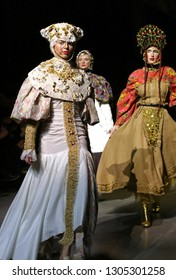 KYIV, UKRAINE - FEBRUARY 5, 2019: Models present a collection of authentic Ukrainian clothes by designer YANIS STEPANENKO during the 44th Ukrainian Fashion Week season Fall/Winter 2019/20 in Kyiv