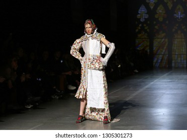 KYIV, UKRAINE - FEBRUARY 5, 2019: Model presents a collection of authentic Ukrainian clothes by designer YANIS STEPANENKO during the 44th Ukrainian Fashion Week season Fall/Winter 2019/20 in Kyiv