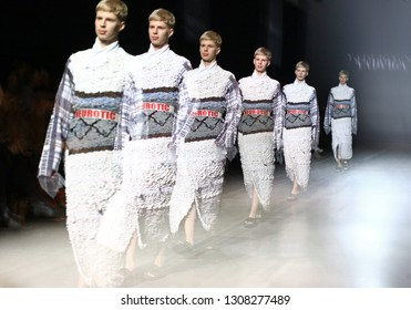 KYIV, UKRAINE - FEBRUARY 5, 2019: Movement of Fashion model on runway using multiple exposure photography technique. Fashion show by designer YADVIGA NETYKSHA at Ukrainian Fashion Week FW19-20 in Kyiv
