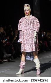 KYIV, UKRAINE - FEBRUARY 5, 2019: YANIS STEPANENKO collection show during Ukrainian Fashion Week 19-20 at Mystetsky Arsenal in Kyiv