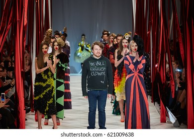 Kyiv, Ukraine - February 7, 2017: Models walk the runway during fashion show by ZALEVSKIY Autumn/Winter 2017/18 as part of Ukrainian Fashion Week 2017.