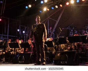 Kyiv, Ukraine - February, 8 - 2018: Ukrainian power metal band Sunrise, accompanied by the Academic Orchestra of the Ukrainian Armed Forces in Bingo Club