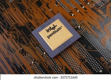 KYIV, UKRAINE - Jan. 28, 2018. Intel Pentium processor on motherboard.