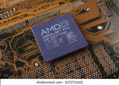 KYIV, UKRAINE - Jan. 28, 2018. AMD 5K86 - P75 processor on motherboard.
