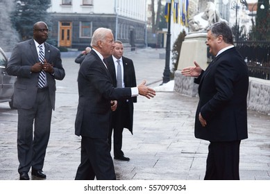 KYIV, UKRAINE - JANUARY 16, 2016: US Vice President Joseph Biden visits Ukraine to meet with Ukrainian President Petro Poroshenko and Prime Minister Volodymyr Groysman.
