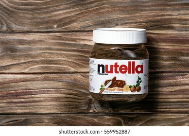 Kyiv, Ukraine - January 19th, 2017: Jar of Nutella on a wooden background